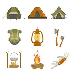 Camping related objects set vector