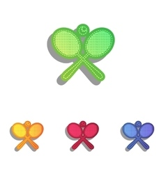Tennis racket sign colorfull applique icons set vector