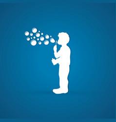 A little boy blowing soap bubbles graphic vector
