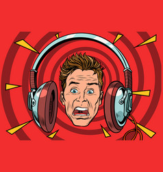 a scared man wearing headphones vector image