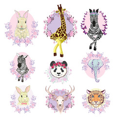 african animals set white background isolated vector image