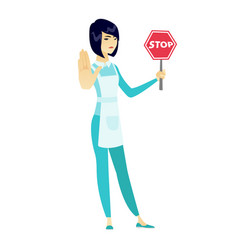 Asian cleaner holding stop road sign vector
