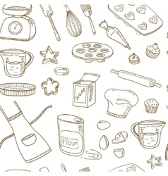 Baking Tools Seamless pattern Hand drawn vector image