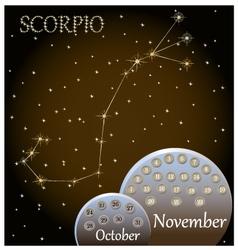 Calendar of the zodiac sign Scorpio vector image