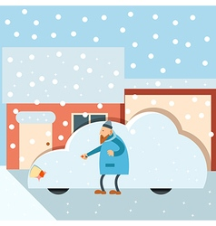 Car under snow vector
