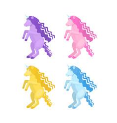 cartoon unicorn set vector image