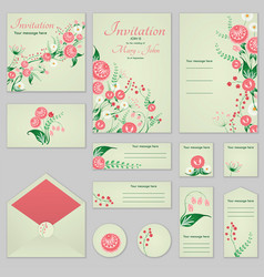 Collection greeting cards with stylized roses and vector