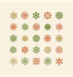 Colorful snowflakes collection isolated on beige vector