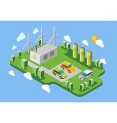 Electric cars charging station isometric banner vector