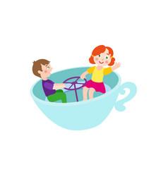 flat boy girl in amusement park chair cup vector image