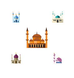 flat icon building set of architecture structure vector image vector image
