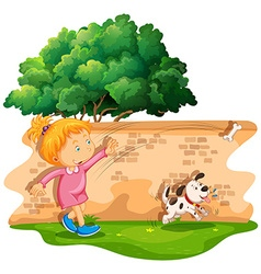 Girl throwing bone for dog vector