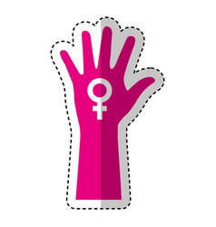 hand human silhouette with female symbol icon vector image