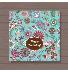 happy birthday card autumn flowers on wooden vector image