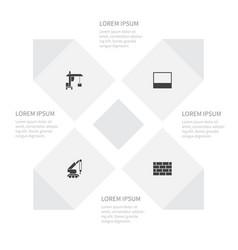 Icon building set of construction car masonry vector