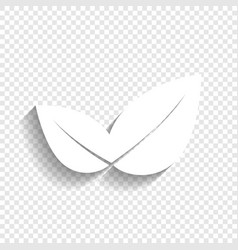 Leaf sign white icon with vector