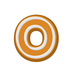 letter o gingerbread peppermint honey-cake font vector image vector image