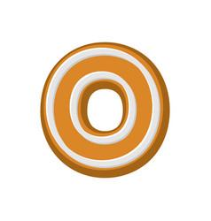 letter o gingerbread peppermint honey-cake font vector image