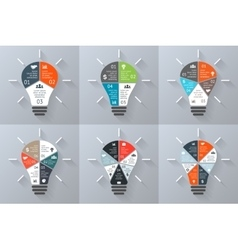 Light bulb infographics set 3 4 5 6 7 vector