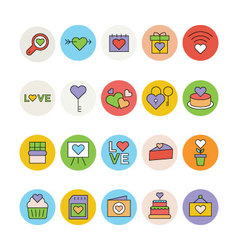 Love and romance colored icons 3 vector