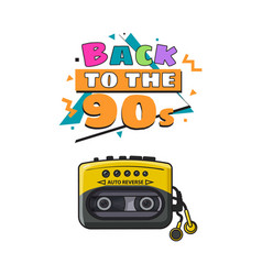 old fashioned black and yellow audio player from vector image vector image