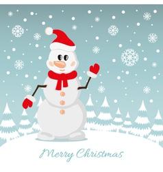 Postcard of Christmas Snowman vector image