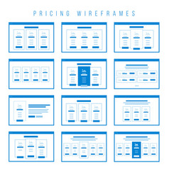 pricing tables wireframe components prototype vector image vector image