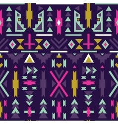 Seamless colorful aztec pattern Dark background vector image vector image
