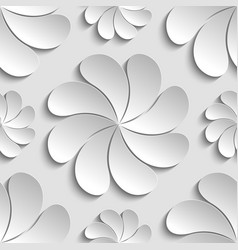 Seamless pattern white 3d paper flower circle 3d vector