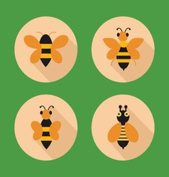 set icon bees Flat in style vector image vector image