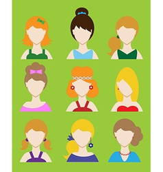 Set of female avatar or pictogram for social vector