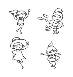 set of hand drawing cute girls line art vector image vector image
