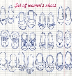 Set of womens shoes on paper vector
