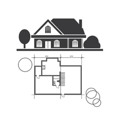 Technical draw house vector