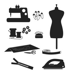 Tools and materials sewing icon set isolated on vector