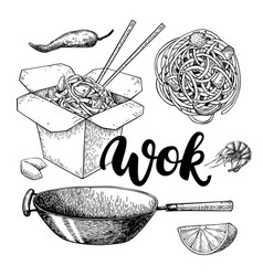 Wok drawing with lettering isolated vector