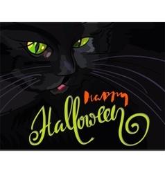Halloween black cat with green eyes Halloween vector image