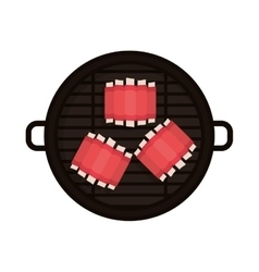 Food grilled with big rib vector