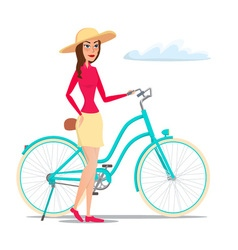 Girl on Bike isolated on white background in flat vector image
