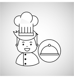 Cartoon chef gourmet tray food vector