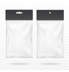 Black blank plastic pocket bag transparent set vector
