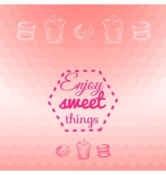 Macarons sweets background card vector image