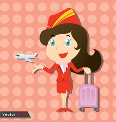 Beautiful stewardess with red uniform vector