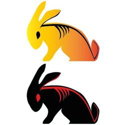 Bad boy rabbit tribal tattoo vector