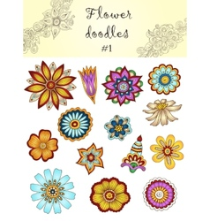Set of doodle flowers 1 ornamental flowers vector