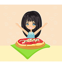 Hapy little girl eating pizza vector