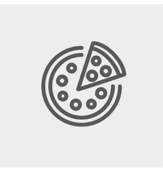 Whole pizza with slice thin line icon vector