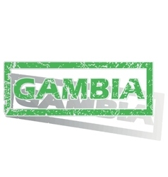 Green outlined gambia stamp vector