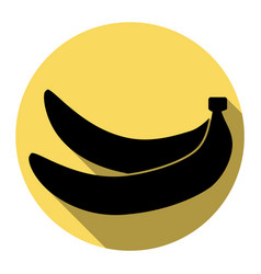 Banana simple sign flat black icon with vector