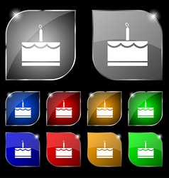 Birthday cake icon sign set of ten colorful vector